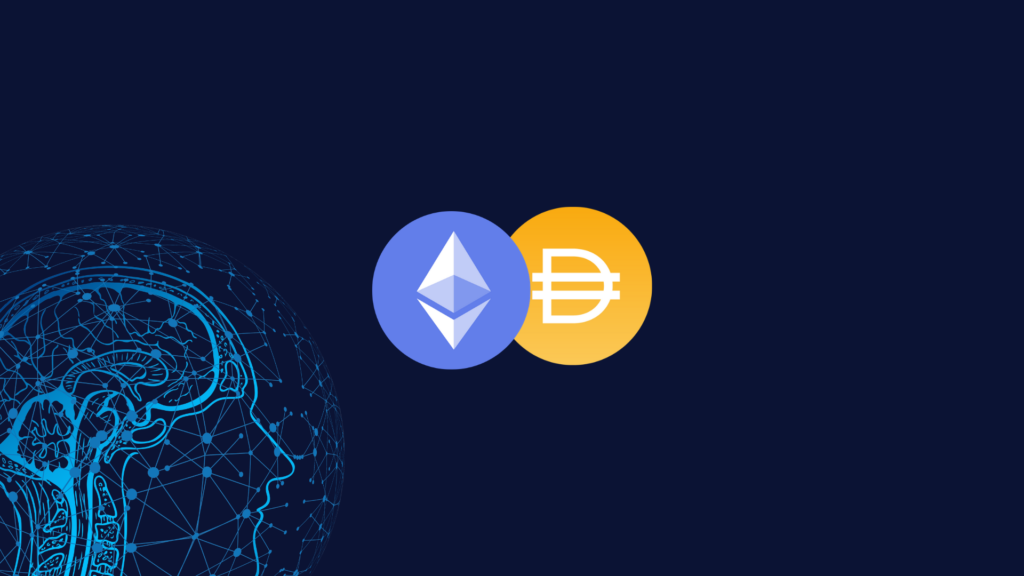 Image of Dai token and Ethereum.
